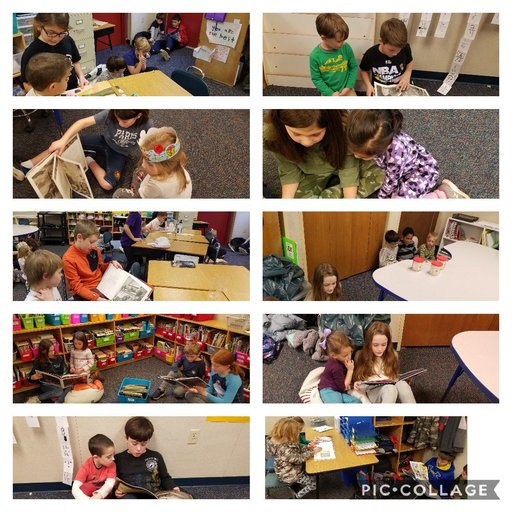 Mr. Merullo's class and Mrs. Whalen's Kinders Sharing a book