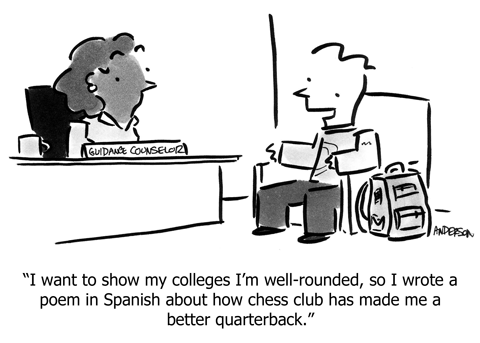 comic: I want to show my colleges I'm well-rounded, so I wrote a poem in Spanish about how chess club has made me a better quarterback